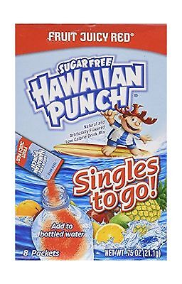 Hawaiian Punch Sugar Free Fruit Juicy Red Singles to Go 8 Packets Per Box... New