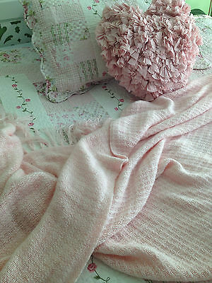 Linens N Things  Soft Pink Acrylic Throw Rug / Blanket with Fringed Edges