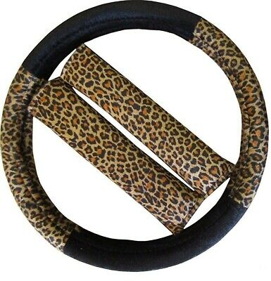 Leopard Print Car Steering Wheel Cover Seat Belt Pads Mirror Cover