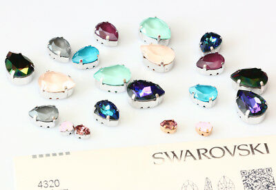Genuine SWAROVSKI 4320 Pear Fancy Stones with Sew On Metal Setting * Many Colors