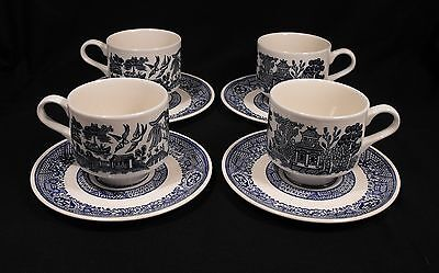 Lot 4  Vintage  Blue Willow   China  Cup and Saucer Sets