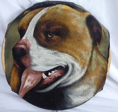 Vintage Pit Bull Dog Portrait Painting on Black Velvet Round - Mounted on wood