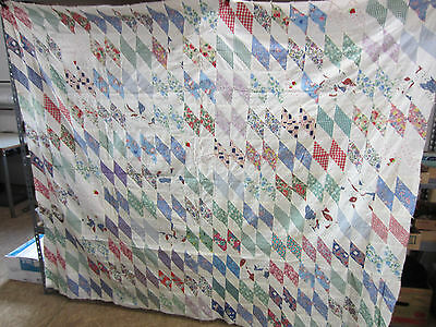 Vintage Hand Sewn Quilt Top- Multi-Colored Diamond Design