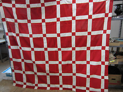 Vintage Machine Sewn Quilt Top-Red & White Square Design