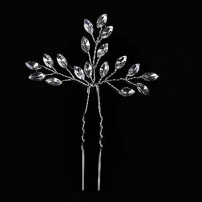 1P Handmade Bridal Crystal Leaf Floral Hairpins Women Wedding Hair Accessories