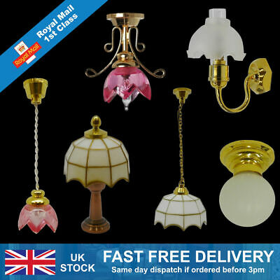 Dolls house hanging, table, wall & ceiling lighting starter set 1/12 scale 12V (