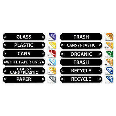 """Rubbermaid Recycle Label Kit - 7.60"""" Width x 1.60"""" Length 1 Each Rectangle"""