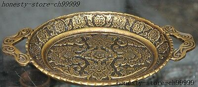 china dynasty palace pure bronze gilt carve flower  auspicious statue Tray Plate