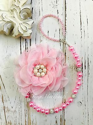 New Girl Pacifier Holder Clip Colorful Beads Pink Chiffon Flower Rhinestone