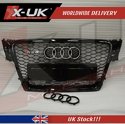 Front Grill Gloss Black Quattro For Audi A4 S4 B8 To Rs4 2008-2012