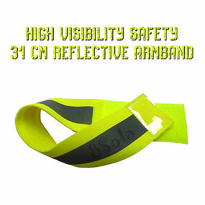 Green Yellow High Visibility Safety Reflective Arm Band Cycling Running PPE