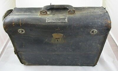 Vintage Leather Teens-1920's Metal Lined Lunch / Medical Doctor Bag Case