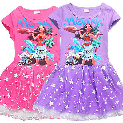 Moana Princess Queen Ocean Cosplay Costume Party Dress Skirts Tutu Dress