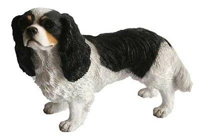 Tri Color King Charles Cavalier Spaniel Dog Figurine Statue Sculpture