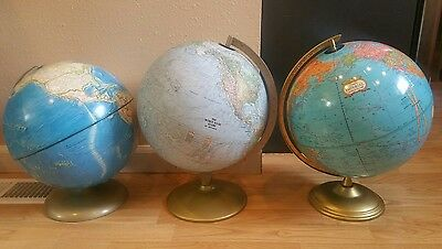 Vintage Mixed Lot Of 3 World Globes Made In USA