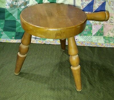 "Vtg Antique Authentic Furniture Products Calif. Wood 12"" Milking Bench Stool"