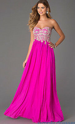 68dbab4aa9c3b JVN JOVANI ~Fuchsia Pink Embellished Sweetheart Strapless Formal Gown 0 NEW  $398