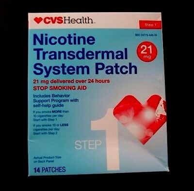 CVS NICOTINE Transdermal Patch  21 mg  14 System Patches 7/2017