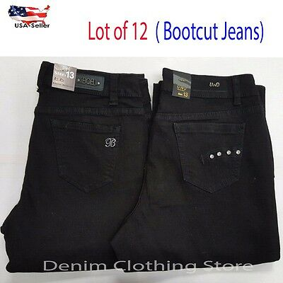 Lot of 12 Women Bootcut Solid Plain Black Jeans Pants Denim Wholesale Mix 3-15