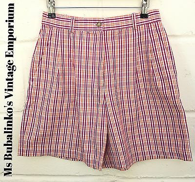 Vintage 90s Red & Orange Plaid Check High Waist Shorts Size 10