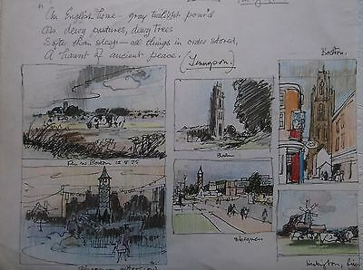 COLOURED GRAPHITE DRAWING by FREDERICK GEORGE WILLS 1901-1993 R.I. BOSTON