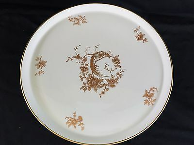 Chamart Limoges France Exclusivite White Cake Stand Gold Bird of Paradise Floral
