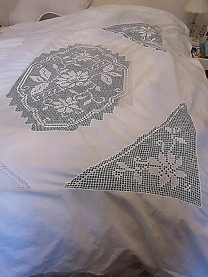 Vintage/Antique White Linen Duvet Cover~Insertion Lace Filet Crochet Lace~64 X77