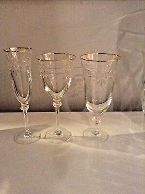 Royal Doulton Wellesley Crystal Set 3 Champagne Flute, Large Water, and Wine !!!