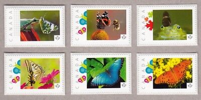 BUTTERFLY, BEE, FROG Set of 6 Picture Postage MNH Canada 2016 [p16/04-2bf6]
