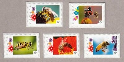 HONEY BEE, BUTTERFLY Set of 5 Picture Postage MNH Canada 2016 [p16/04-2be5]