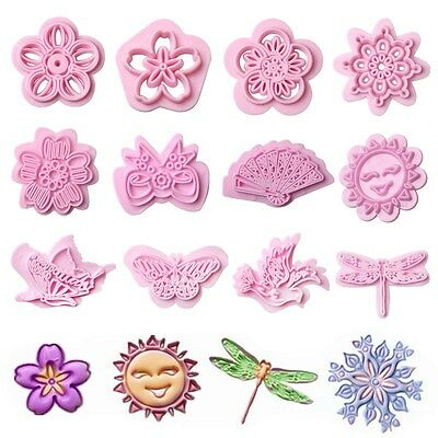 4Pcs Plastic Flower Cookie Cutter Cake Biscuit Fondant Sugarcraft Embosser Molds