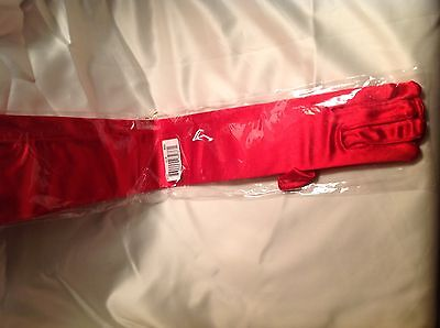 """Women's Long satin stretch  Red party /wedding/prom gloves 22"""" long"""