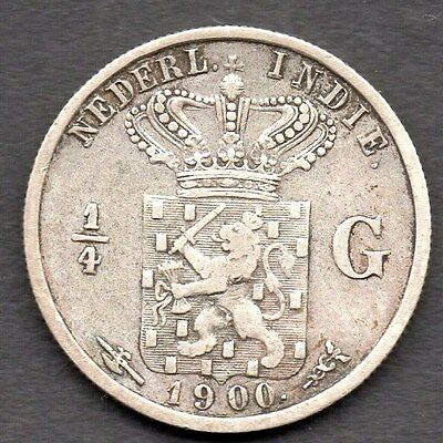 1900 Netherlands East Indies 1/4 Gulden Coin  *** Silver *** Vf Condition