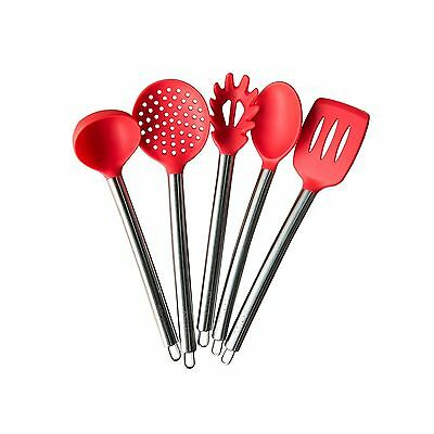 TTLIFE Silicone Spatula Utensil Stainless Steel Kitchen 5 Pieces With Spa... New