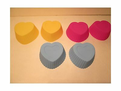 Set of 6 Heart Shaped Silicone Cupcake Forms (Style # 2) Style # 2 New