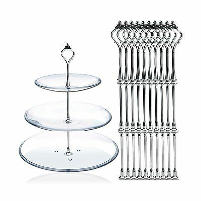DGQ 10 x Sets 2 or 3 Tier Cake Plate Stand Fittings Silver Plate Stands New