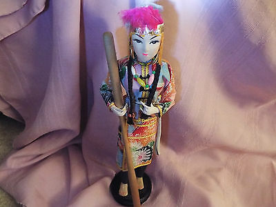 """13 1/2"""" Very Unusual Handpainted Asian Woman Doll Figurine Made of Wood & Cloth"""