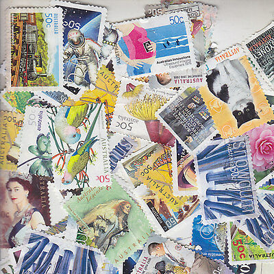 80 X RECENT AUSTRALIAN 50c STAMPS-USED-ALL DIFFERENT-freepost-$5