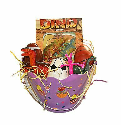 Children's Dinosaur Toy PLayset Easter Basket Surprised Filled Eggs Boys ... New