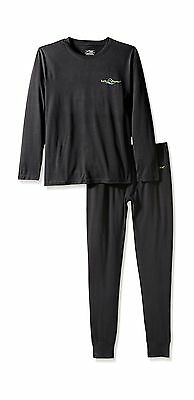 Lucky Bums Kid's Base Layer Top and Bottom Black Medium New