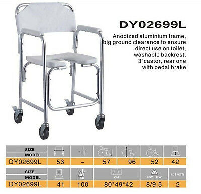 ALUMINIUM  2 in 1  COMMODE AND SHOWER CHAIR