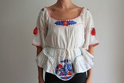 VINTAGE Beautiful Womens Embroidered Cotton Peasant Top Bouse Shirt -RARE-