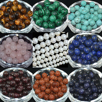 Natural Round Spacer Stone Loose Beads Jewelry Making Gemstone DIY Strand 15""