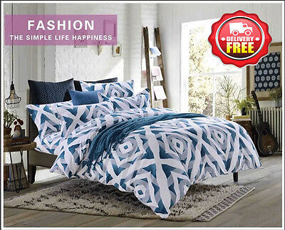 D633 Queen/King/Super King Size Bed Quilt/Duvet/Doona Cover Set Euro Pillowcases