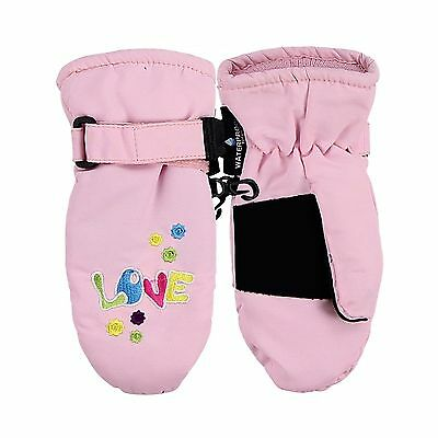 Toddler Girl's Waterproof / Thinsulate Lined Winter Mittens Lt Pink Love ... New