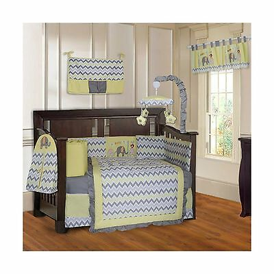 BabyFad Elephant Chevron Yellow 10 Piece Baby Crib Bedding Set New