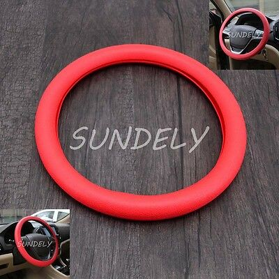 UK Car steering wheel cover WHEEL Leather Texture Soft Cover Skin HOT Red