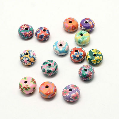 20pcs Mixed Color Handmade Polymer Clay Flat Round Beads with Flower Pattern DIY