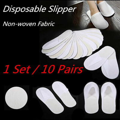 10 Pairs/Lot Disposable Closed Toe Guest Slippers Terry Hotel SPA Slipper Shoes