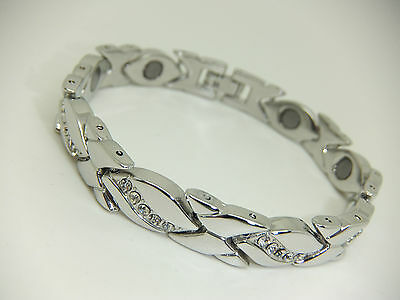 Womens Silver Colour Magnetic Bracelet With Clear Diamante Gem Stones Arthritis